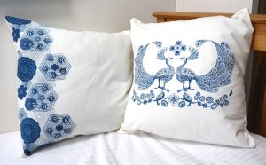 blue and white square cushions