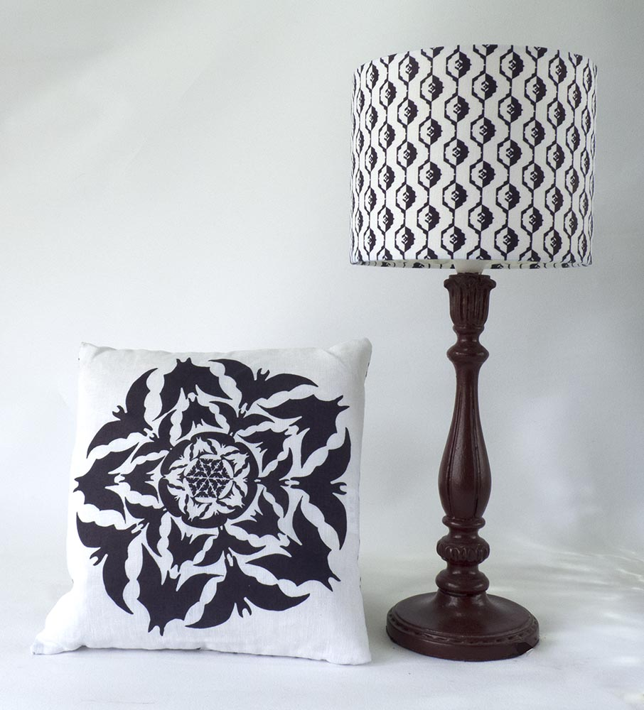bat lamp and cushion
