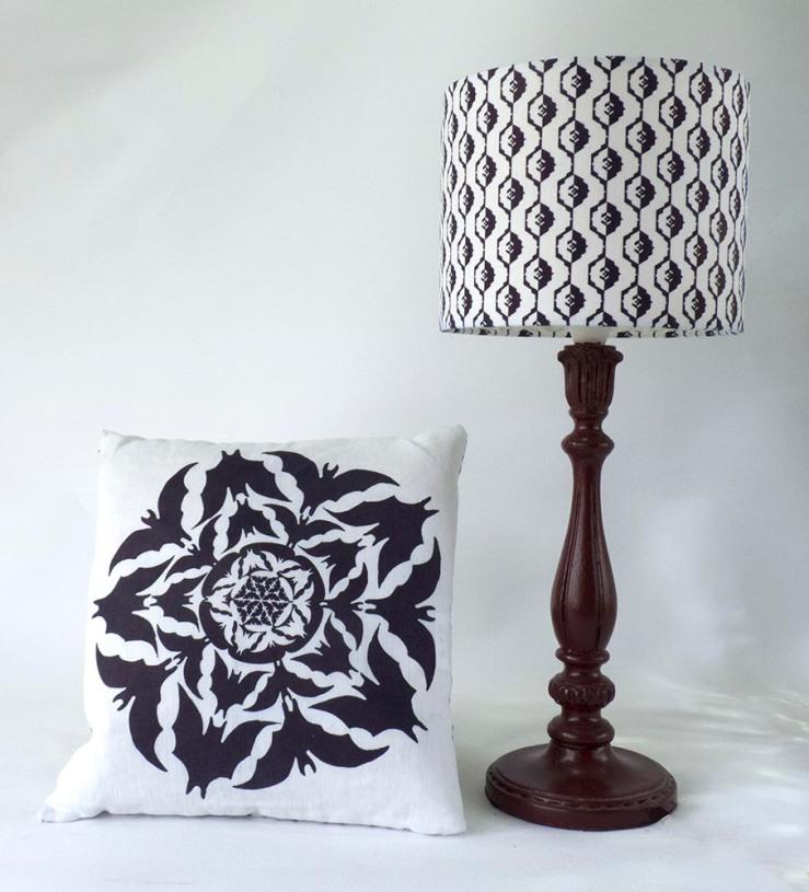bat lamp and cushion